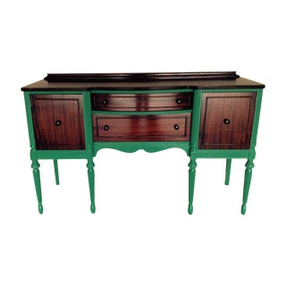 Antique Teal and Wood Serving Buffet Credenza For Sale
