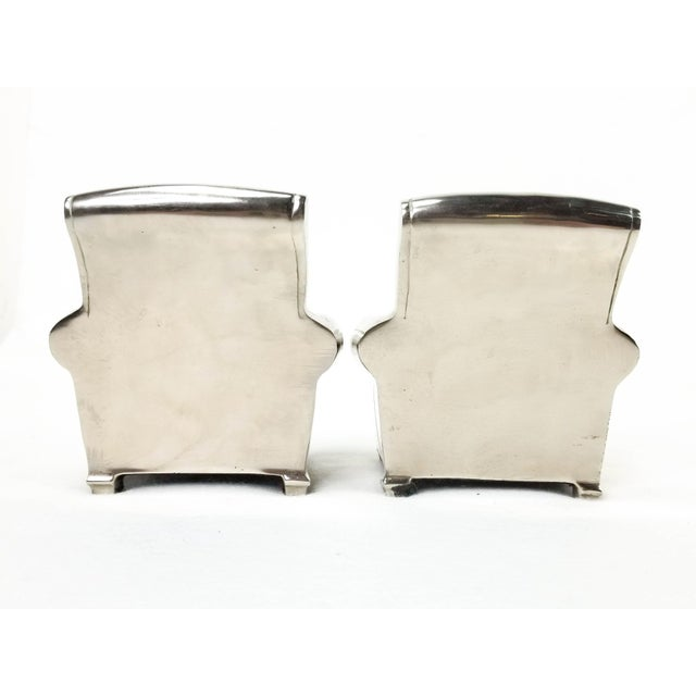 1990s Vintage Silver Finish Cast Metal Lounge Chair Bookends - a Pair For Sale - Image 5 of 10