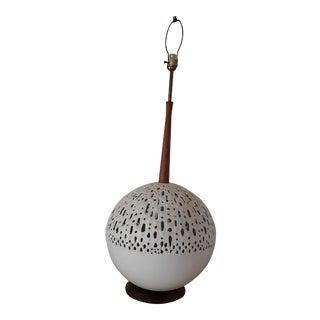 Vintage Teak and Aluminum Danish Modern Brutalist Table Lamp For Sale