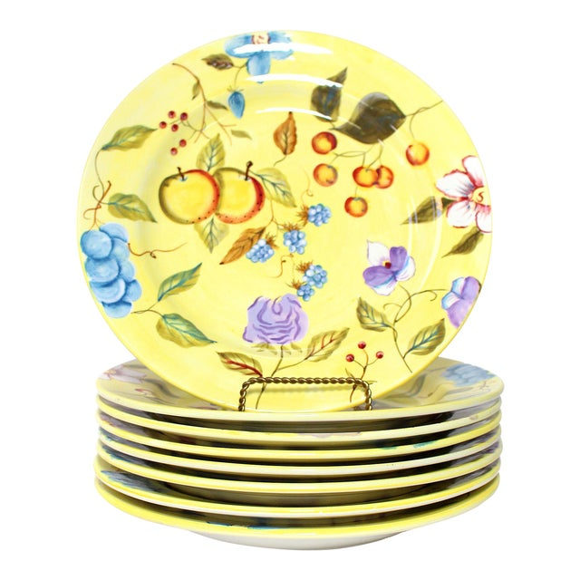 """Hand Painted Zrike Dinner Plates """"Flora"""" Pattern - Set of 8 For Sale"""