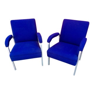 Blue Wool Blend Side Chairs - A Pair