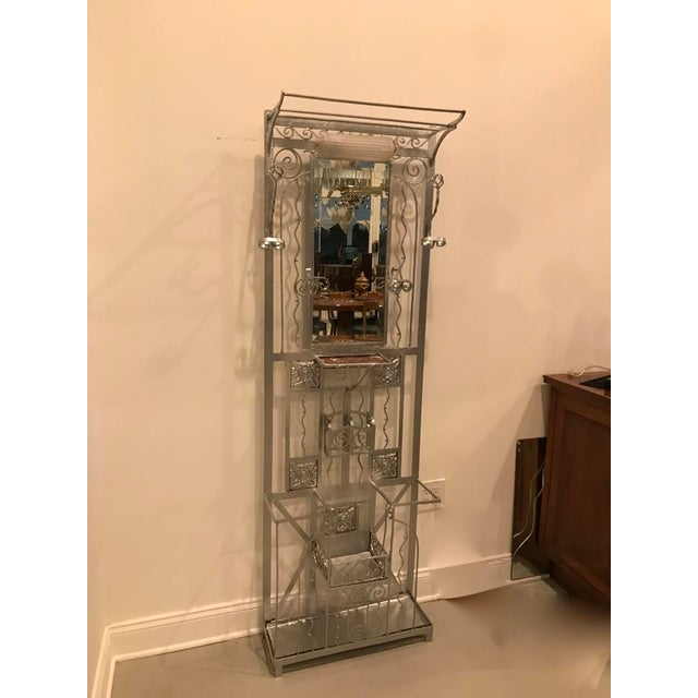 Art Deco French Art Deco Hall Tree Coat Rack With Sabino Glass Light Sconce For Sale - Image 3 of 13