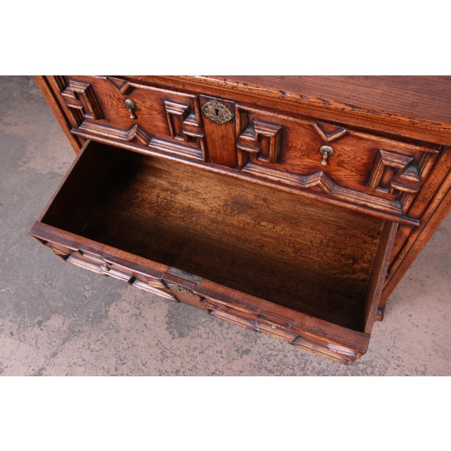 Antique Carved Oak Three-Drawer Bachelor Chest For Sale - Image 10 of 12