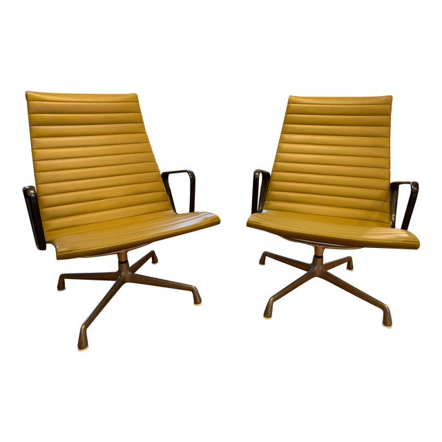 1950s Vintage Eames Olive Green Swivel Lounge Chairs- A Pair For Sale