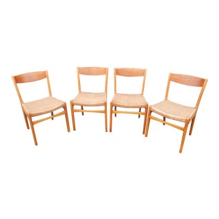 Mid-Century Danish Modern Sweden Woven Rope Cord Teak Dining Chairs- Set of 4 For Sale
