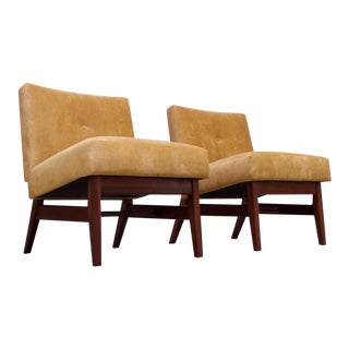 Midcentury American Modern Walnut and Velvet Slipper Chairs For Sale