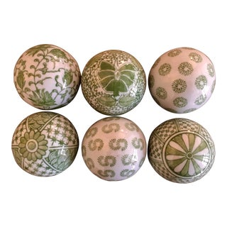 Contemporary Green and White Decorative Porcelain Balls - Set of 6 For Sale