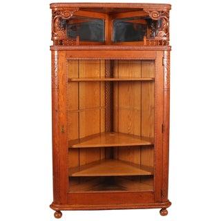 Antique R. J. Horner School Deeply Carved Stick & Ball Oak Corner China Cabinet For Sale