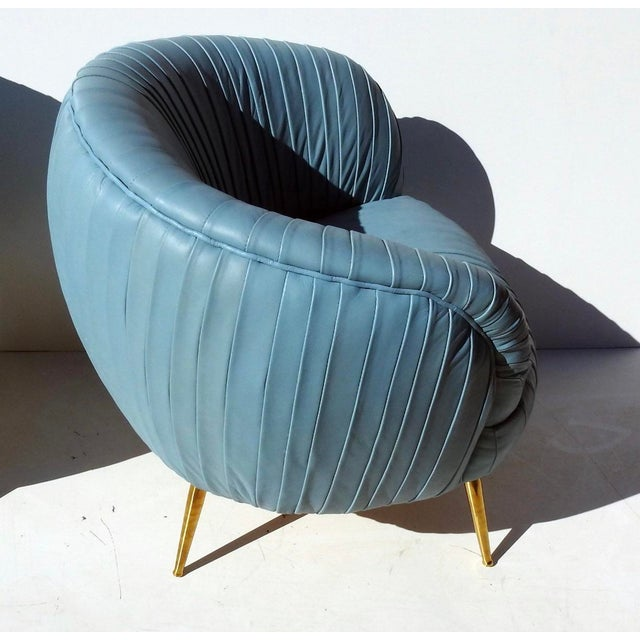 Modern Rouched Leather Lounge Chairs - a Pair For Sale - Image 4 of 7