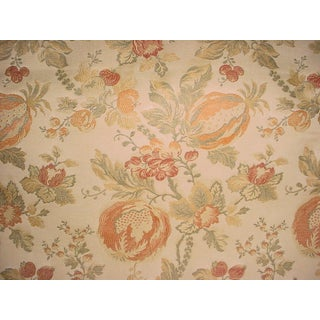 Lee Jofa Marlowe Weave Ginger Floral Brocade Upholstery Fabric- 7 5/8 Yards For Sale