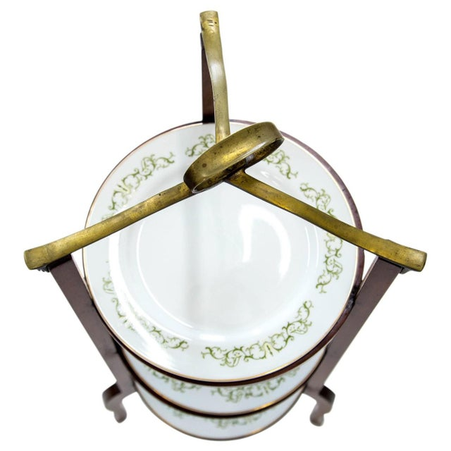 Queen Anne 3-Tier Serving Stand W Brass Handle For Sale - Image 3 of 11