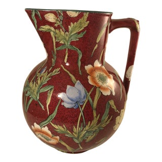English Chintz Pattern Large Decorative Water Pitcher For Sale
