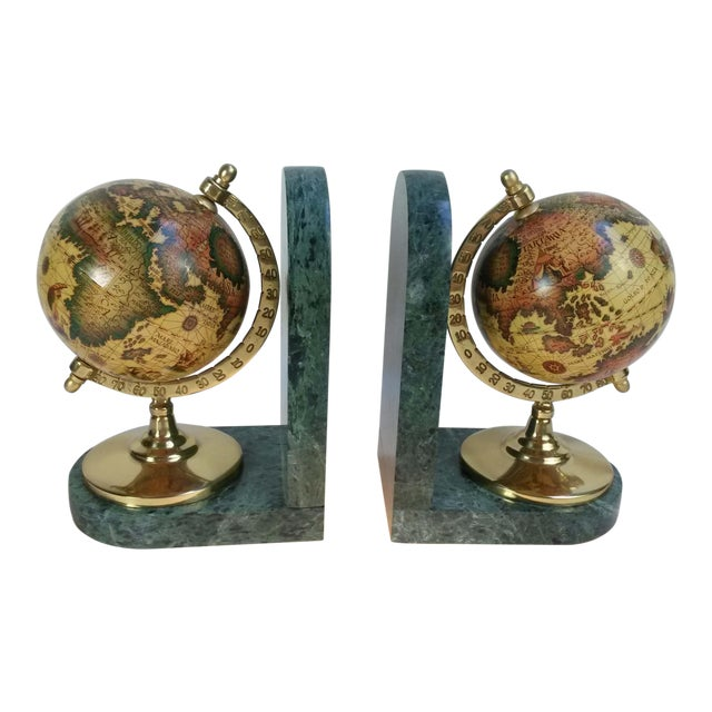 Old World Globe Bookends on Solid Green Marble - A Pair For Sale