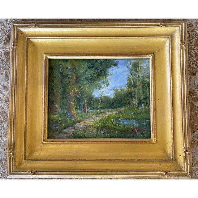 Impressionist Sandy Askey Adams Original Pastel Landscape Painting - Waters Edge For Sale - Image 3 of 7