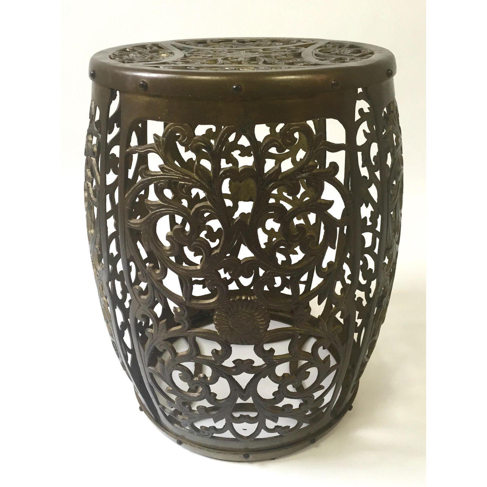Mid Century Brass Fretwork Asian Garden Stool   Image 6 Of 6