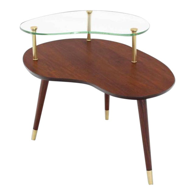 Vintage Mid Century Walnut Glass & Brass Organic Shape Side Table For Sale