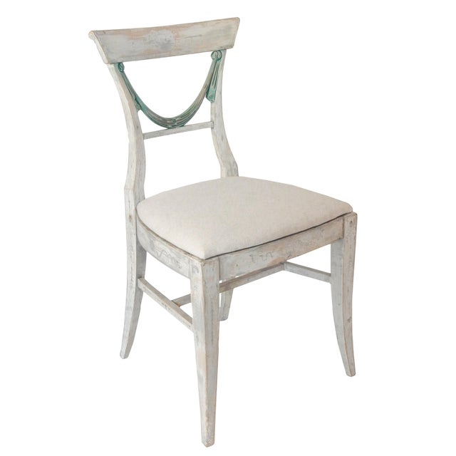 Set of 4 Swedish Dining chairs - Will sell in pairs of 2 - Upholstered slip seats -Wear varies on individual chairs,...