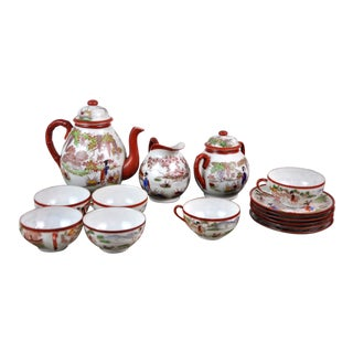 Japanese Vintage Fine Hand Painted White Bone Transparent Porcelain Tea Set 15 Pieces For Sale