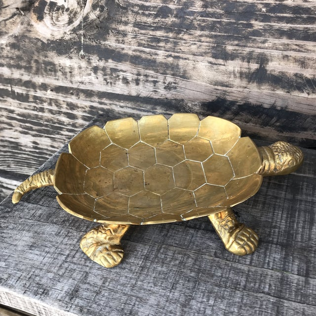 Large Vintage Solid Brass Turtle Catchall Tray Trinket Dish For Sale - Image 9 of 10
