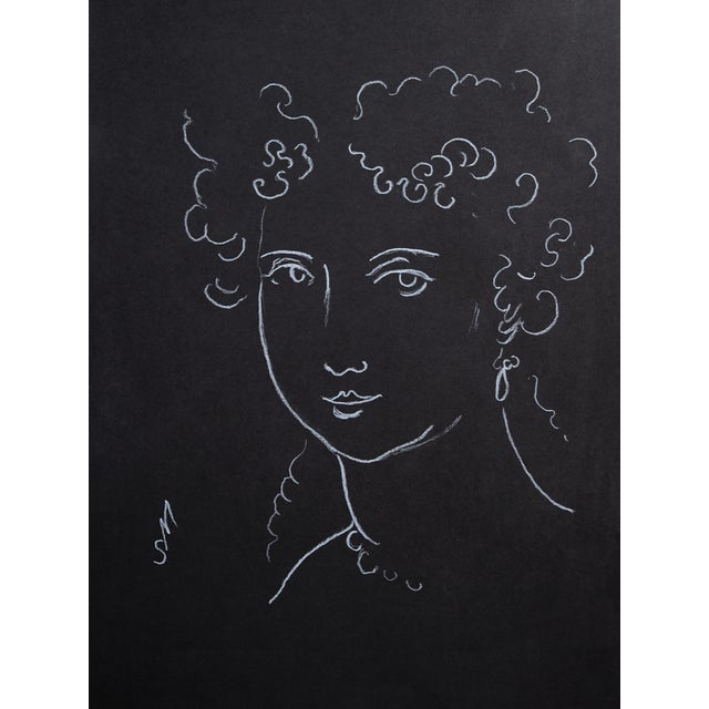 "2010s ""Woman With Ringlets"" Minimalist Inspired White Charcoal Drawing by Sarah Myers For Sale - Image 5 of 6"