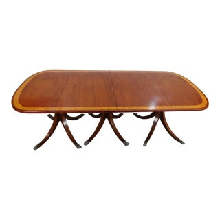 Large Antique Banded Mahogany Triple Pedestal Dining Room Table w/ 1 Leaf c1900 For Sale