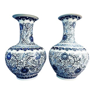 Lg Onion-Shaped Blue & White Floral Vases - a Pair