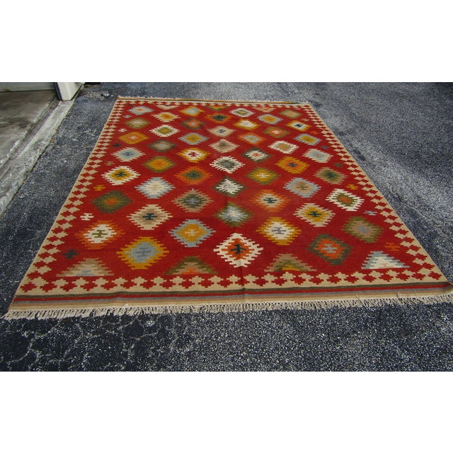 "Textile Isara Wool Kilim Rug-7'6'x9'6"" For Sale - Image 7 of 7"