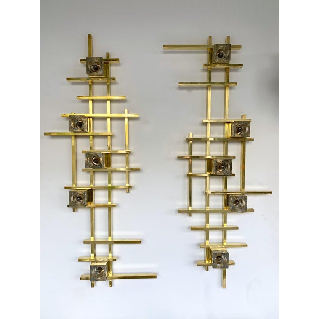 Metal Contemporary Brass Murano Glass Cubic Sconces. Italy For Sale - Image 7 of 11