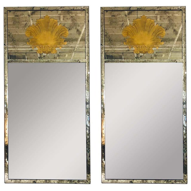 Hollywood Regency Eglomise Wall, Console Pier Mirrors Manner Maison Jansen Pair For Sale - Image 12 of 12