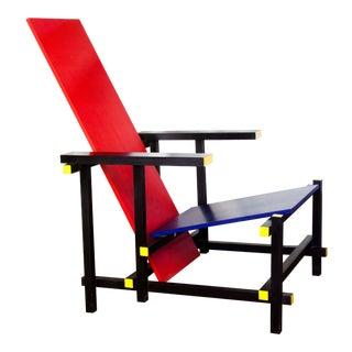 De Stijl Red & Blue Rietveld Chair For Sale
