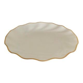 Christian Dior Scalloped Gilt Rim Serving Plate - in Box For Sale