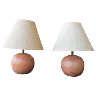 Pair of Terracotta Lamps For Sale