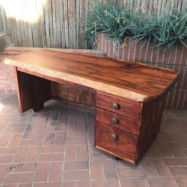 1970s Primitive Wood Slab Executive Desk For Sale - Image 10 of 10