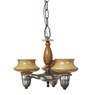 Art Deco Three Light Chandelier With Peach Colored Glass Shades For Sale