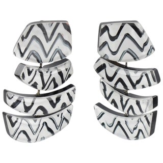 Anne and Frank Vigneri Oversized Dangling Black and White Lucite Clip on Earrings For Sale