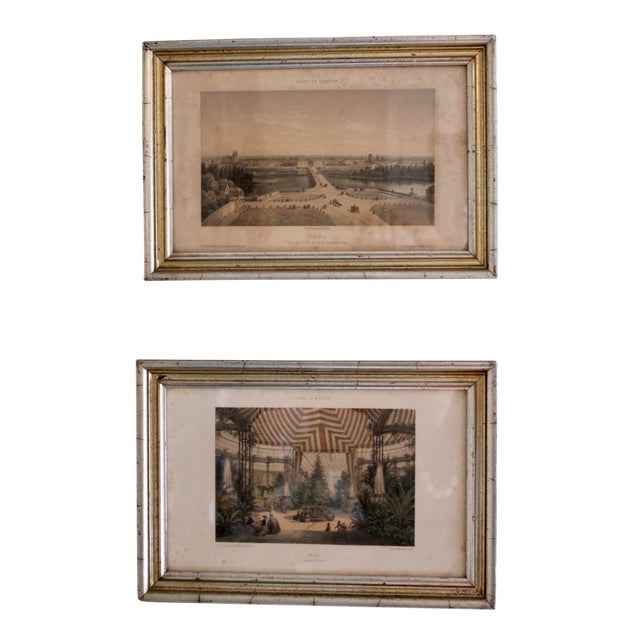 French Country Prints in Silver and Gold Bamboo Style Wooden Frames - a Pair For Sale
