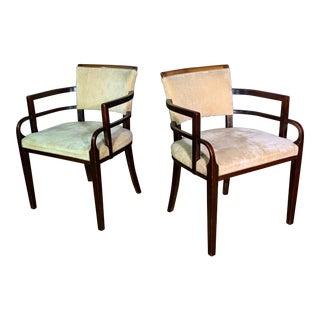 Pair 1930s German Art Deco Armchairs, Mahogany & Velvet For Sale