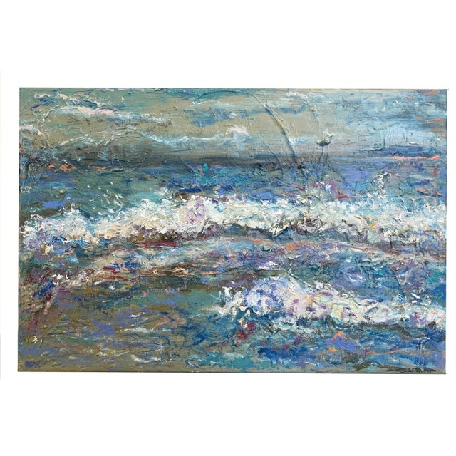 """""""Sea Me"""" Contemporary Abstract Seascape Oil Painting by Nancy T. Van Ness For Sale - Image 4 of 5"""