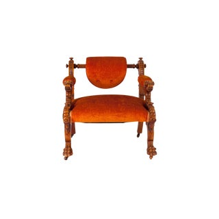 Victorian Walnut Low Chair With Swiveling Back, Usa, 1880 For Sale