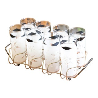 Mid Century Snowflake Glasses With Brass Caddy – Set of 8 For Sale
