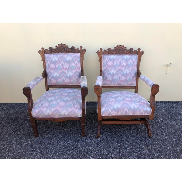 Late 19th Century Vintage Eastlake Arm Chair & Rocker- a Pair For Sale - Image 12 of 12