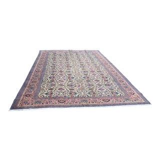 Vintage Anatolian Oushak Flower Design Lowpile Anatolian Wool Rug - 8′6″ × 12′5″ For Sale