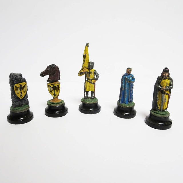 Acrylic Chess Set With Painted Lead Medieval Figures on Lucite Board For Sale - Image 7 of 9
