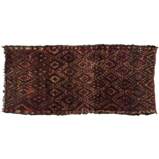 Berber Moroccan Runner with Tribal Design, 5'2x11'1 For Sale