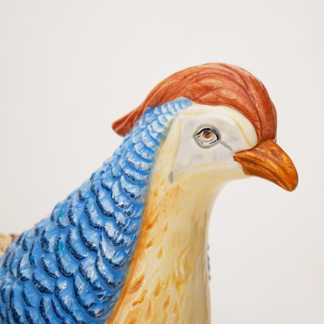 Ceramic C. 1970s Fine Mottahedeh Pheasant Figurine or Dish For Sale - Image 7 of 13