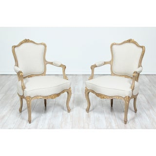 1920s French Louis XV Painted and Parcel-Gilt Armchairs- a Pair Preview