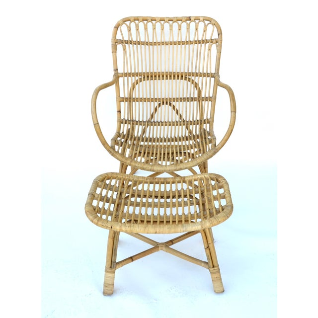 1980s Vintage Rattan Bamboo Chair and Ottoman For Sale - Image 5 of 7