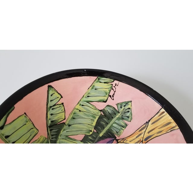 Mid-Century Modern 80's Vintage Tropical Decorative Ceramic Bowl , Signed . For Sale - Image 3 of 8