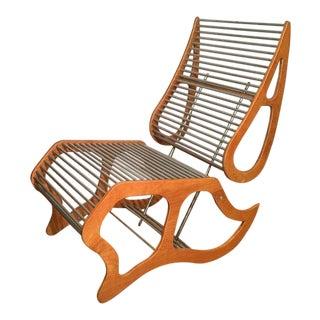 Mid Century Danish Modern Designer Lounge Chair W Aluminum Rods For Sale
