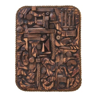 Wood Mosaic Collage Sculpture Paula Randall 1974